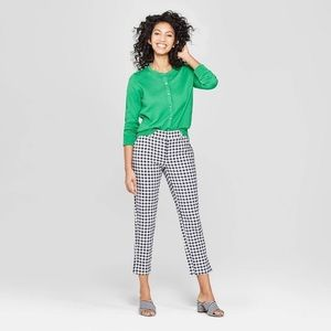 Women's Plaid Straight Leg Slim Ankle Pants